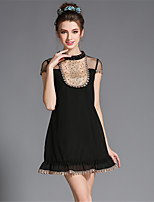 Plus Size Women's Elegant Sexy See Through Grenadine Bead Lace Ruffle Short Sleeve Casual /Party/Daily Dress