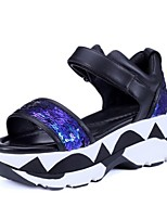 Women's Shoes Nappa Leather Flat Heel Peep Toe / Platform / Comfort Sandals Outdoor / Athletic / Casual Blue / Silver