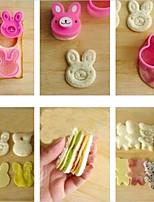 Cute Rabbit Bear Flower Sandwich Cookie Cutter Bread Buiscuit Mold Cake Decoration Bento Maker,Set of 3