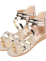 Women's Shoes Leatherette Wedge Heel Open Toe Sandals Outdoor / Casual White / Silver / Gold
