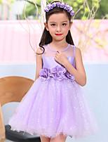 A-line Short/Mini Flower Girl Dress-Satin / Tulle Sleeveless