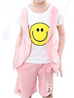 Girl's Black / Pink Clothing Set,Cartoon Cotton Summer