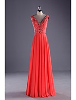 Formal Evening Dress Ball Gown V-neck Floor-length Chiffon / Charmeuse with Beading