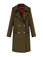 Women's Solid Brown Coat,Street chic Long Sleeve Cotton