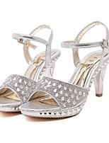 Women's Shoes Glitter Summer Open Toe Dress Cone Heel Sparkling Glitter Silver / Gold