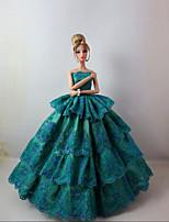Poupée Barbie-Vert-Soirée & Cérémonie-Robes- enSatin / Dentelle