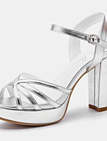 Women's Shoes Synthetic Chunky Heel Peep Toe Sandals Wedding/Office & Career /Party & Evening/Dress/Casual White/Silver