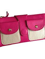 Women Cowhide Bi-fold Shoulder Bag / Clutch / Wallet-Orange / Fuchsia