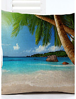 Island Scenery Pattern Linen Pillowcase Sofa Home Decor Cushion Cover (18*18inch)