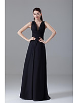 Formal Evening Dress A-line V-neck Floor-length Chiffon