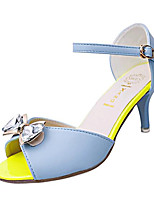 Women's Shoes Leatherette Summer Heels / Peep Toe Party & Evening Stiletto Heel Bowknot / Buckle Blue / Purple / White