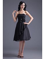 Cocktail Party Dress-Black A-line Strapless Knee-length Chiffon