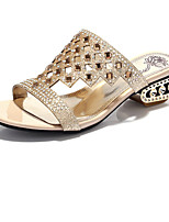 Women's Shoes Glitter Chunky Heel Comfort Sandals Wedding / Party & Evening / Dress / Casual Black / Gold