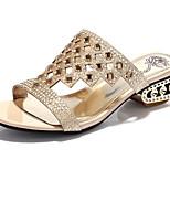 Chaussures Femme-Mariage / Habillé / Décontracté / Soirée & Evénement-Noir / Or-Gros Talon-Confort-Sandales-Paillette