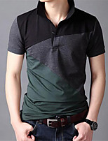 Men's Short Sleeve T-Shirt,Cotton Casual Color Block