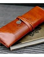 Retro Stylish Brown PU Leather Pen Pencil Case Bag Stationery Makeup Brush Bag