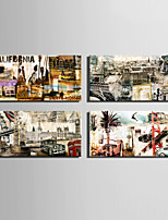 E-HOME® Stretched Canvas Art European Famous Architectural Retro Elements Decoration Painting  Set of 4