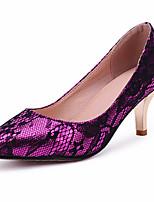 Damenschuhe-High Heels-Lässig-Kunstleder-Stöckelabsatz-Absätze / Spitzschuh-Lila / Rot
