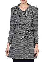 Women's Check Black Coat,Plus Size Long Sleeve Polyester