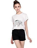 Haoduoyi Women's Round Neck Short Sleeve T Shirt White-15113G238
