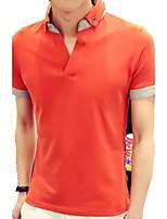 Katoen-Kleurenblok-Heren-T-shirt-Informeel-Korte mouw