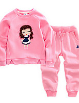 Girl's Green / Pink Clothing Set Cotton Spring / Fall