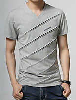 Men's Solid Casual T-Shirt,Cotton Short Sleeve-Black / Blue / Red / White / Gray
