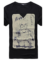 Men's Print Casual T-Shirt,Polyester Short Sleeve-Black / White