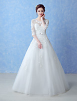 A-line Wedding Dress-Floor-length Jewel Tulle