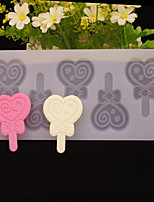 Love Heart Lollipop Shape Chocolate Plugin Mold for Cake Decoration Silicone Material