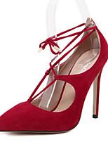 Chaussures Femme-Extérieure / Décontracté-Noir / Rouge / Amande-Talon Aiguille-Talons / Bout Pointu-Talons-PU