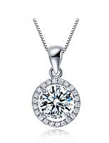 Pure Austrian Rhinestone Round Ball Pendants Shinning Long Chain Silver Necklace Girlfriend Gifts Women Crystal Jewelry