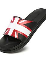 Sapatos Masculinos-Sandálias / Deslizante-Preto / Branco / Preto e Vermelho-Couro Envernizado-Ar-Livre / Casual