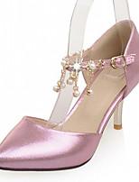 Zapatos de mujer-Tacón Stiletto-Tacones-Tacones-Boda / Oficina y Trabajo / Fiesta y Noche-Semicuero-Rosa / Plata / Oro