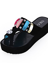 Women's Shoes PU Wedge Heel Slippers / Open Toe Sandals / Slippers Outdoor / Dress / Casual Black / White