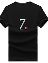 Men's Letter Casual / Sport / Plus Sizes T-Shirt,Cotton Short Sleeve-Black / White