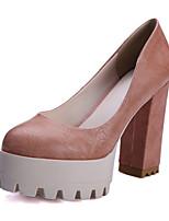 Damenschuhe-High Heels-Büro / Kleid / Lässig-PU-Blockabsatz-Absätze / Plateau / Rundeschuh-Schwarz / Rosa / Grau / Beige