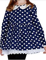Heart Print Doll Collar Long Sleeve Girls Bottoming Blouse