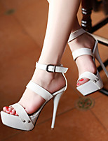 Zapatos de mujer-Tacón Stiletto-Tacones / Punta Abierta / Plataforma-Sandalias / Tacones-Vestido / Casual / Fiesta y Noche-Semicuero-