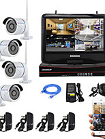YanSe® 10-inch Screen Plug and Play Wireless NVR Kit P2P 960P HD IR Night Vision Security IP Camera WIFI CCTV System