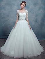 A-라인 웨딩 드레스 스윕 / 브러쉬 트레인 스쿱 레이스 / 튤 와 허리끈 / 리본 / 아플리케 / 비즈 / 레이스