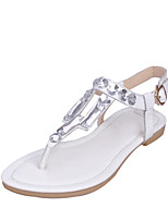 Women's Shoes Cowhide / Leather Flat Heel Slingback / T-Strap / Comfort / Open Toe Sandals Party & Evening