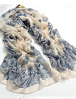 Chinese National Wind Blue And White Scarves Female Voile Printed Classic Scarf