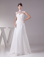 Sheath/Column Wedding Dress-Sweep/Brush Train Jewel Chiffon / Satin