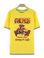 Inspirado por One Piece Monkey D. Luffy animado Disfraces Cosplay Cosplay de la camiseta Estampado Amarillo Manga Corta Top