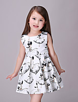 Girl's Print Dress,Cotton / Polyester Summer / Spring / Fall White