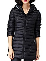 Women's Solid Pink / Black Padded Coat,Plus Size Hooded Long Sleeve