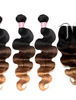 cabelo brasileiro ombre com fecho de 4 unidades / lote ombre madeixas de cabelo com fechos de renda onda do corpo colorido 1b / 27/04
