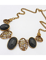 European and American Gold Punk Retro Palace Necklace Oval