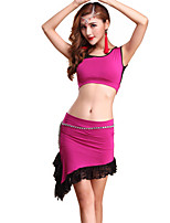 Belly Dance Outfits Women's Training Lace / Modal Lace 2 Pieces Fuchsia / Purple / Red / Yellow